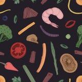 Modèle sans couture coloré avec des morceaux de nourriture Contexte avec des légumes et des fruits de mer tirés par la main avec  Images stock