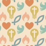 Modèle sans couture coloré avec des symboles chrétiens E illustration de vecteur