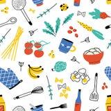 Modèle sans couture coloré avec des ustensiles de cuisine pour la cuisine familiale ou la préparation alimentaire, fruits et légu illustration stock