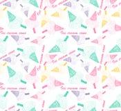 Modèle sans couture coloré avec le cornet de crème glacée coloré Photographie stock libre de droits