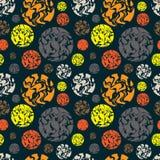 Modèle sans couture coloré avec le Dr. abstrait de main de point de polka de cercle illustration stock