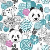 Modèle sans couture coloré avec les cercles et les têtes abstraits de panda Images libres de droits