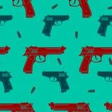 Modèle sans couture coloré d'armes à feu Photo libre de droits