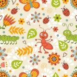 Modèle sans couture coloré d'insectes mignons Photo stock