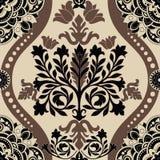Modèle sans couture coloré de damassé, papier peint classique, fond illustration stock