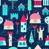 Modèle sans couture coloré de maisons Photos libres de droits