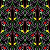 Modèle sans couture coloré de Paisley de style piqué par Ornamental Images stock