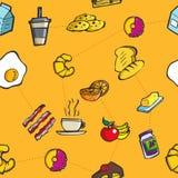 Modèle sans couture coloré de petit déjeuner et de repas Photo stock