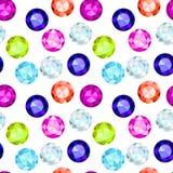 Modèle sans couture coloré de pierre gemme Images libres de droits