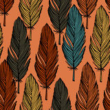 Modèle sans couture coloré de plume Photographie stock libre de droits