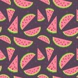 Modèle sans couture coloré de vecteur de pastèque sur le bro Images stock
