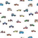 Modèle sans couture coloré de voitures et de camions Véhicules, vue de côté Fond blanc Illustration de vecteur Style plat illustration stock