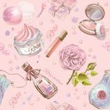 Modèle sans couture cosmétique naturel de Rose illustration de vecteur