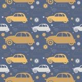 Modèle sans couture décoratif avec de rétros voitures Photo stock