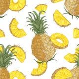 Modèle sans couture décoratif avec les ananas juteux délicieux entiers et de coupe sur le fond blanc Contexte avec savoureux illustration stock