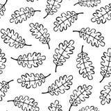 Modèle sans couture décrit par feuille noire et blanche de chêne Photographie stock libre de droits