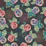 Modèle sans couture d'élégance abstraite avec floral Photos stock
