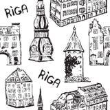 Modèle sans couture d'éléments de vecteur de vieille ville de Riga illustration de vecteur