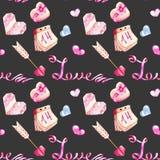 Modèle sans couture d'éléments romantiques d'aquarelle de jour du ` s de Valentine : flèches, coeurs, calendrier Images stock