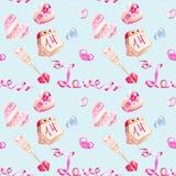 Modèle sans couture d'éléments romantiques d'aquarelle de jour du ` s de Valentine : flèches, coeurs, calendrier Photographie stock libre de droits