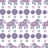 Modèle sans couture d'éléphant d'Asie Fond coloré par vecteur indien décoré animal d'illustrations illustration stock