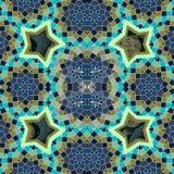 Modèle sans couture d'émirats arabes stylisés avec des figures de la géométrie sacrée et étoiles, planètes et lune cosmiques dans illustration libre de droits
