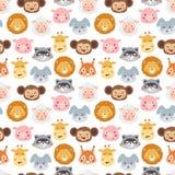 Modèle sans couture d'émotion d'avatar de vecteur d'icônes animales d'illustration illustration libre de droits