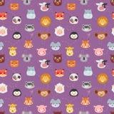 Modèle sans couture d'émotion d'avatar de vecteur d'icônes animales d'illustration illustration stock