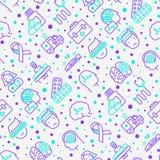 Modèle sans couture d'épilepsie avec la ligne mince icônes illustration de vecteur