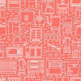 Modèle sans couture d'équipement commercial de cuisine dans la ligne style illustration libre de droits