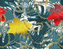 Modèle sans couture d'été avec des chaînes et des feuilles et des fleurs tropicales de ketmie Copie ? la mode de mode Aloha confi illustration libre de droits