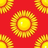 Modèle sans couture d'été avec le soleil sur le fond rouge Illustration Libre de Droits
