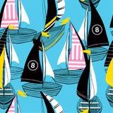 Modèle sans couture d'été coloré et lumineux dans le bateau tiré par la main de vecteur sur la conception d'océan pour la mode, t illustration de vecteur