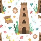Modèle sans couture d'été de château sous-marin de mer, coffre, bouteille, ancre, perle, algues Illustration marine tirée par la  illustration de vecteur