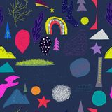 Modèle sans couture d'étoile de planète d'arbre d'arc-en-ciel d'univers illustration stock