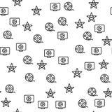 Modèle sans couture d'étoile de production de film de Hollywood illustration de vecteur