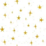 Modèle sans couture d'étoiles d'or tirées par la main Photos stock