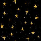 Modèle sans couture d'étoiles d'or tirées par la main Photo libre de droits