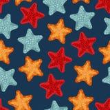 Modèle sans couture d'étoiles de mer Image libre de droits