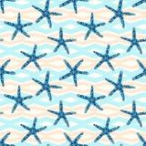 Modèle sans couture d'étoiles de mer avec dessus une ligne géométrique fond illustration libre de droits