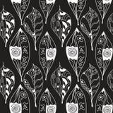 Modèle sans couture d'abrégé sur griffonnages de feuilles Images libres de droits