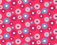 Modèle sans couture d'abrégé sur lumineux amusement avec des fleurs d'isolement sur Vi Images stock