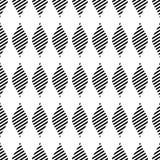 Modèle sans couture d'abrégé sur vecteur Fond de répétition géométrique symétrique noir et blanc avec le losange décoratif Photographie stock