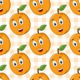 Modèle sans couture d'abricot mignon de bande dessinée Photo libre de droits