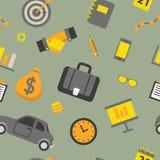 Modèle sans couture d'affaires avec des éléments de bureau et des objets de finances Images libres de droits