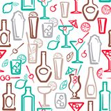 Modèle sans couture d'alcool Images stock