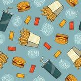 Modèle sans couture d'aliments de préparation rapide d'ordure - dirigez l'illustration Image stock