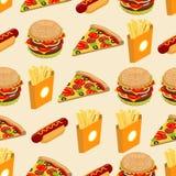 Modèle sans couture d'aliments de préparation rapide Fond de hot-dog Illustration Libre de Droits