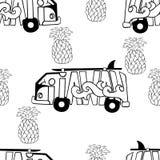 Modèle sans couture d'Aloha Hawaii Croquis d'autobus et d'ananas de ressac Illustration de vecteur Photographie stock