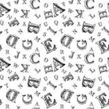 Modèle sans couture d'alphabet de croquis Photo libre de droits